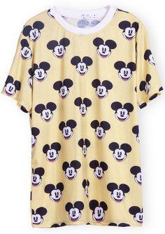 Yellow Short Sleeve Mickey Print T-Shirt - Sheinside.com
