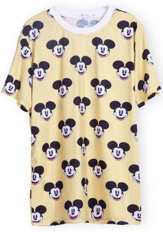 #Yellow Short Sleeve #Mickey #Print #T-Shirt #Disney