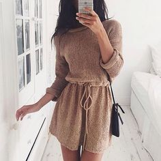 """""""Dress to impress in this tan drawstring knit dress. #stylish #chic #lookbookstore (Shop link in bio)"""" Photo taken by @lookbookstore on Instagram, pinned via the InstaPin iOS App! http://www.instapinapp.com (10/29/2015)"""
