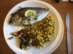 Sea bass, sauté veg and peas and sweet corn yum!