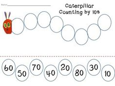 Hungry Caterpillar Number Sequencing: Counting by 10s