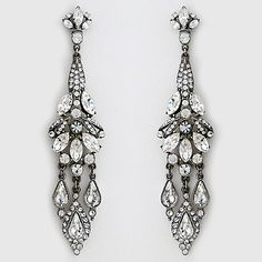 Ben-Amun Jewelry. Royal jewels. Spectacular long vintage chandelier earrings for black tie affairs or pure regalia for bridal.