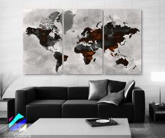 """LARGE 30""""x 60"""" 3 Panels Art Canvas Print Watercolor Map color black gray light gray Wall decor Home Office interior (framed 1.5"""" depth)"""