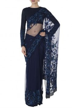 Manishii Featuring a midnight blue floral hand embroidered saree in nylon with pipe embellishment detail. It comes along with a matching full sleeves blouse in viscose and petticoat. Dress Indian Style, Indian Dresses, Blouse Patterns, Blouse Designs, Wedding Dresses For Girls, Girls Dresses, Latest Saree Blouse, Sari Design, Saree Styles