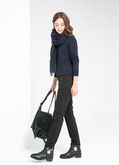 Fermuarlı koton pantolon