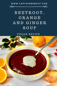 Beetroot, Orange and Ginger Soup (Vegan Recipe) #recipe #vegan #vegansoup #beetroot #beetrootsoup #souprecipeseasy #soup Vegetarian Soup, Vegan Soup, Vegetarian Recipes, Easy Soup Recipes, Raw Food Recipes, Drink Recipes, Awesome Food, Good Food, Thai Butternut Squash Soup