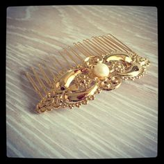 Vintage Style Pearl & Gold Hair Comb Wedding by LuluMayJewelry, $34.90