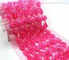 1yd plum 3D 7 Row Rose organza Lace Fabric sewing trim wedding doll dress L1204 - #dress, doll, fabric, L1204, Lace, Organza, PLUM, Rose, Sewing, trim, Wedding