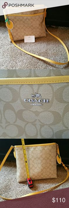 "Coach crossbody, mustard yellow Medium to large crossbody purchased this summer. Attached is a lemon keychain, which cost extra, but I can include in this purchase if u like. When I bought it, I saw the keychain at the counter and thought of Beyonc? song ""lemonade"" lol :) Coach Bags Crossbody Bags"