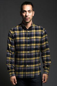 Yellow/Navy Flannel Buttondown