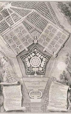 Palazzo Farnese, Caparola, ground plan and gardens