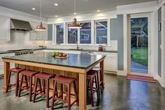 Huge kitchen island doubles as a casual dining space.