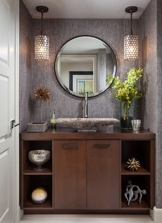 brown marble square sink, silver faucet, brown wooden cabinet, round mirror of What You Do on Small Bathroom with Vanities and Sinks