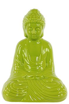 Urban Trends Ceramic Meditating Buddha in Dhyana Mudra Gloss Yellow Green >>> Want to know more, click on the image.