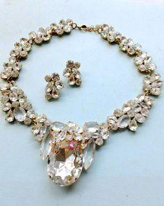 Rhinestone Wedding Necklace Earring Set Rhinestone Brides Wedding Retro Party Jewelry