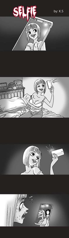 Selfie - image horror if you lost your eyes to a ghost Short Horror Stories, Creepy Stories, Ghost Stories, Silent Horror Comics, Creepy Comics, Funny Comics, Creepy Horror, Horror Art, Comics Story