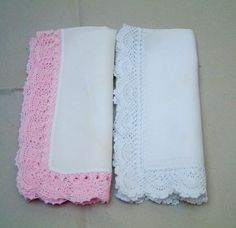 Handkerchief  Crochet Handkerchief Handkerchiefs Linen Wedding Hankies Wide Edge Ladies Hankies Hankerchiefs, Vintage Hankies white and pink - pinned by pin4etsy.com