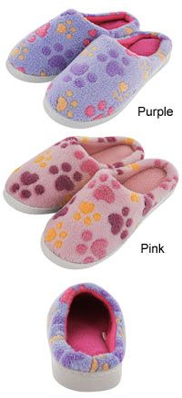 Purple Paw Love Microfiber Slippers at The Animal Rescue Site