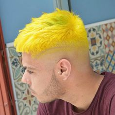 Brighter Than Ever Yellow #Menshairstyles Mens Hair Colour, Cool Hair Color, Yellow Hair Color, Man Bun Hairstyles, Crazy Hairstyles, Dyed Hair Men, Men Hair, Different Hair Colors, Cool Braids