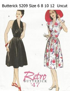 Retro+1947+Butterick+Dress+Pattern+B5209+size+6+8+10+12+Uncut