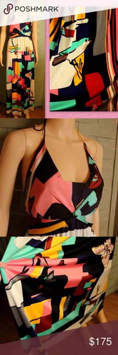 """$1195 EMILIO PUCCI """"Birds"""" Halter SILK Maxi Dress Authentic $1195 EMILIO PUCCI """"Birds & Butterflies"""" halter maxi dress in multicolored 100% UNLINED, DURABLE SILK.  BEAUTIFUL resale condition: Has NOT been dry cleaned but no visible stains/holes etc. Slight tiny """"picks"""" in the Silk here or there but that's it. STUNNING EXPENSIVE PIECE~~SIGNED EVERYWHERE WITH THE PUCCI SIGNATURE~~~  Marked a IT 12 but runs small; Fits a size MEDIUM:  Approx 55"""" long, 36/38"""" bust, 32"""" Empire waist, FREE at…"""