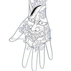 Oni Tattoo, Hanya Tattoo, Irezumi Tattoos, Chest Piece Tattoos, Body Art Tattoos, Sleeve Tattoos, Tattoo Drawings, Japanese Hand Tattoos, Japanese Tattoo Designs