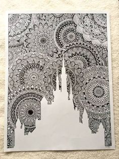 drawing for my favorite lock! All in zentangle mandala ! Size: 65 cm x 50 cm - Art Doodle Art Drawing, Zentangle Drawings, Mandala Drawing, Cool Art Drawings, Pencil Art Drawings, Zentangles, Drawing Ideas, Mandala Doodle, Mandala Art Lesson