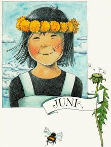 "Monatspostkarte ""Juni"" Linnea aus d. Elsa Beskow, Hello June, Mary Engelbreit, Months In A Year, 12 Months, Juni, Children's Book Illustration, Flower Art, Childrens Books"