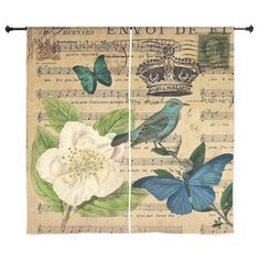 """vintage music notes butterfly bird fl 60"""" Curtains on CafePress.com"""