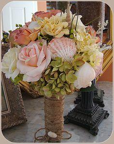 Beach Wedding Bouquet with Sea Shells Beach by EuphorbiaFloral
