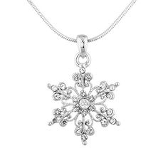Lux Accessories SilverTone Christmas Holiday Snowflake Charm Pendant Necklace