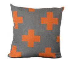 hardtofind. | Tangerine cross cushion  indigo designs