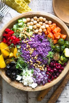 My healthy Purple Cauliflower Rice Salad is gluten free and colorful ~ combining roasted and raw veggies for tons of antioxidants, vitamins, and fiber! Purple Cauliflower Recipe, Cauliflower Rice Salad, Cauliflower Recipes, Raw Food Recipes, Salad Recipes, Healthy Recipes, Healthy Snacks, Healthy Eating, Savory Herb