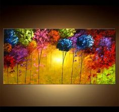 Modern landscape painting by the artist Osnat Tzadok. Choose from thousands of modern, contemporary and abstract paintings in this online art gallery. Artwork: 'Under the Sun', dimensions: 48x24. #4156