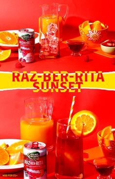 This Raz-Ber-Rita Sunset is the best summer drink! Just imagine you're on a beach. ;) 1) Pour orange juice into a glass with ice. 2) Add Raz-Ber-Rita followed by splash of grenadine 3) Garnish and serve.
