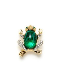 Gold & Green Resin Frog Pin by Kenneth Jay Lane on Gilt.com