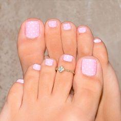 New French Pedicure Nail Art Polka Dots Ideas Simple Toe Nails, Pretty Toe Nails, Summer Toe Nails, Cute Toe Nails, Pretty Toes, Beach Nails, Fall Pedicure, Pedicure Colors, Pedicure Nail Art