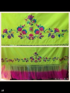 """New! Full size neon embroidered shawl with 18"""" tied and dyed neon fringes $450.00 lay a way is available. Please contact us at 5807658731 for any further information or to purchase."""