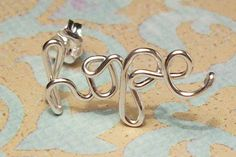HOPE Earring Stud, Sterling Silver or Gold Filled, Cartilage Earring - CUSTOM names - FREE toe ring with order. $22.00, via Etsy.