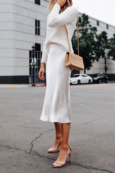 Fashion Jackson Wearing Banana Republic White Fuzzy Sweater White Slip Midi Skirt Winter White Party Outfit 3 outfits style summer teenage frauen sommer for teens outfits Mode Ootd, Mode Simple, Party Mode, Look Boho, Fashion Jackson, White Slip, Mode Inspiration, Journal Inspiration, Classy Outfits
