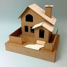 View topic - slant roof house with gable roof entry. Christmas Village Houses, Putz Houses, Christmas Villages, Christmas Home, Christmas Crafts, Doll Houses, Cardboard Box Houses, Paper Houses, Cardboard Crafts