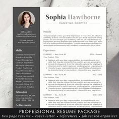 Creative Resume Template, CV Template for MS Word, Modern ...