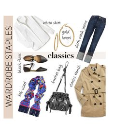 """Tried and True: Wardrobe Staples"" by collagette ❤ liked on Polyvore featuring Lacoste, Gap, Burberry, Bony Levy, 7 For All Mankind, Silken Favours and WardrobeStaples"