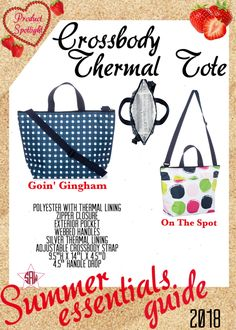 Graphic for VIP Facebook group or party. Crossbody thermal Tote Summer essentials product spotlight. Thirty-One spring/summer 2018 www.mythirtyone.ca/sabrinawhite