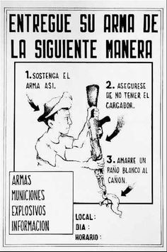American poster showing Panama Defense Force soldiers how to properly surrender.
