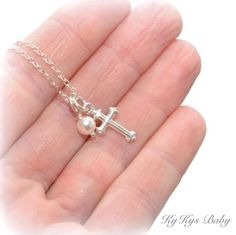 Baptism Necklace - Christening Necklace - Sterling Silver Cross Necklace - Baby Girl Baptism Gift - Baptism Jewelry - First Communion Gifts Baptism Gifts For Girls, Baby Girl Baptism, Baby Bracelet, Kids Necklace, Sterling Silver Cross, Birthstone Necklace, Diamond Cuts, Baby Bling, Communion Gifts