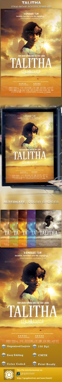 This Talitha Movie Poster Template is sold exclusively on graphicriver, it can be used for your movie promotion, event marketing, church movie night, sermon marketing etc. In this package you'll find 1 Photoshop file. All text and graphics in the file are editable, color coded and simple to edit. The file also has 6 one-click color options. $6.00