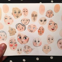 Ways to fill a sketchbook. I painted the heads with watercolor and used a sharpie to draw the faces. Art And Illustration, Art Sketches, Art Drawings, Drawing Faces, Arte Sketchbook, Sketchbook Inspiration, Aesthetic Art, Aesthetic Drawing, Painting & Drawing