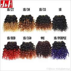 """4Packs/200g 8"""" Brazilian Virgin Ombre Human Hair Extensions Weave Kinky Curly #beautyplusboutique #ombrehairextensions"""