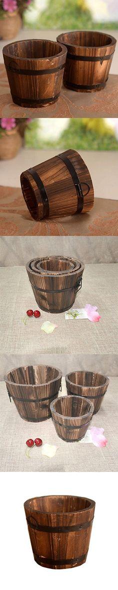 C-Pioneer Wooden Round Barrel Planter Flower Pots Home Office Garden Wedding Decor (M, Round Edge)